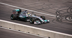 Nico Rosberg demonstrating the Mercedes GP F1 Showcar