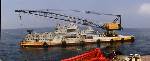 Artificial reef deployment, barge