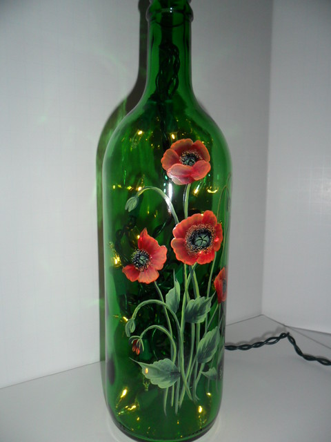 Poppy Lighted Wine Bottle Hand Painted 750 Ml Flickr