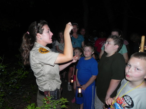 Park Ranger Jennifer Huggins tells everyone to turn of their flashlights for the night hike