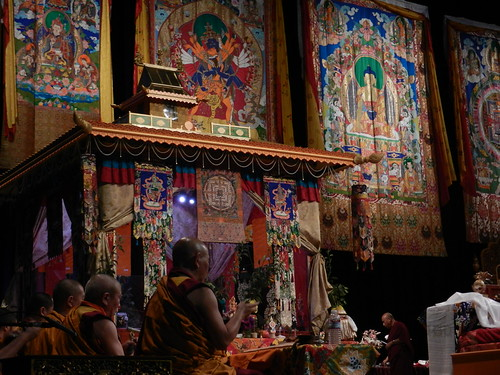 Tibetan Buddhist Lamas complete prayers, open Kalachakra pavilion, Thangkas of Padmasambhava, Shri Kalachakra, Lord Buddha, mandala, offerings, monk, Kalachakra for World Peace, Washington D.C., USA by Wonderlane