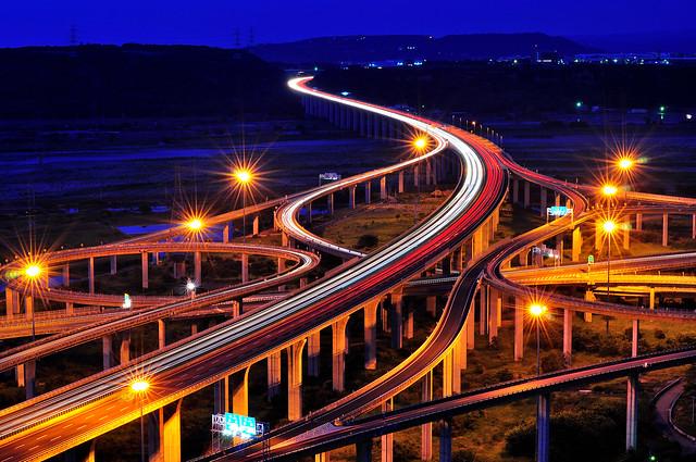 Traffic trails of interchange 國道3號-台中系統交流道,清水交流道