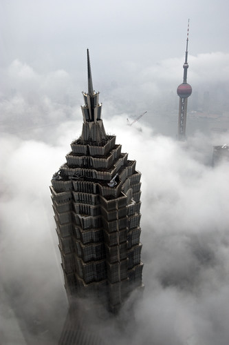 jin mao tower and shanghai tv tower