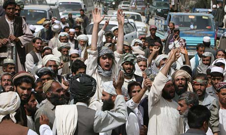 Afghanistan civilians protest the US-NATO occupation of their country. In this photo residents of Paktia protests the killing of two neighbors by the imperialist occupationist forces. by Pan-African News Wire File Photos
