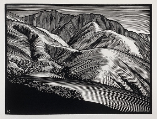 Monterey Hills - Paul Landacre - Wood Engraving - 1931
