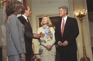 Photograph of President William J. Clinton and First Lady Hillary Rodham Clinton with King Juan Carlos and Queen Sofia of Spain, 04/29/1993
