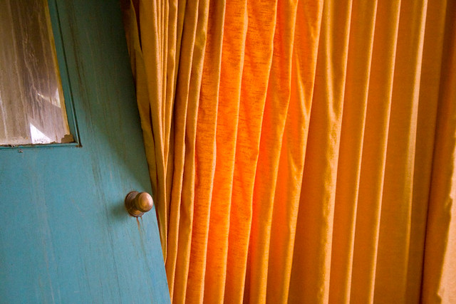 Tab Top Velvet Curtains / Drapes / Panels -Orange