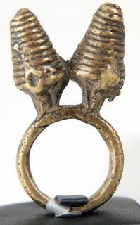 5982 Lost Wax Cast brass ring, Lobi people, Burkina Faso Size 57:P