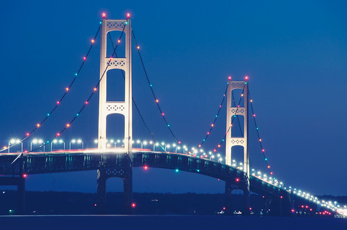 clichésaturday hcs lakemichigancircletour lakemichigan mackinawcity michigan mackinacbridge bluehour starbursts festivelights beforesunrise blue lighttrails gettyimages tpsbridge tpslandscape frhwofavs pixelmama fog night explore
