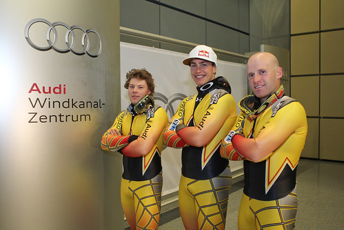 Thomsen, Guay and Dixon at the Audi Wind Tunnel Centre in Germany