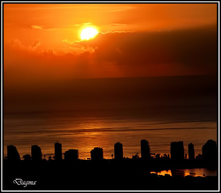 Sunrise over the Mediterranean Sea ( Calpe Alicante ) Spain