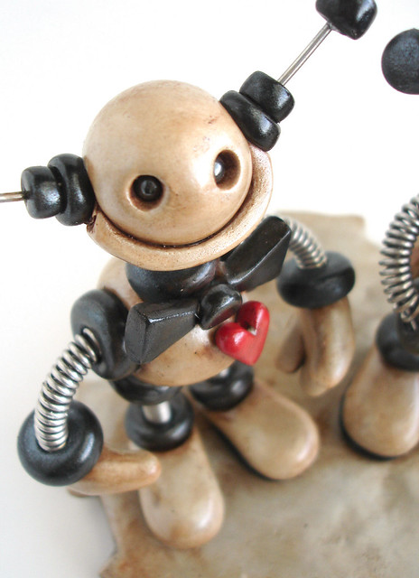 Robot Wedding Cake Topper Custom Silver Black with a touch of Grungy