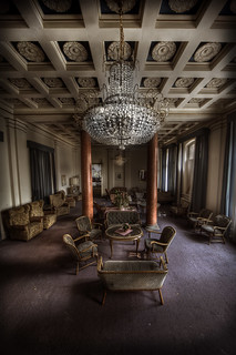 Grand lobby of the overlook abandoned hotel