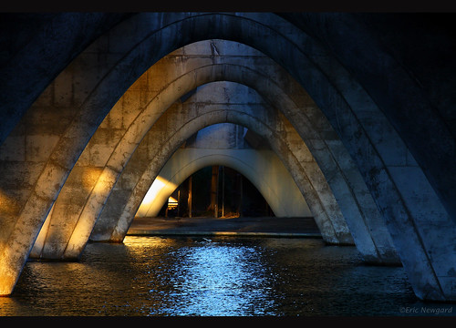 bridge blue light water beautiful canon photography shadows scenic arches glimmer