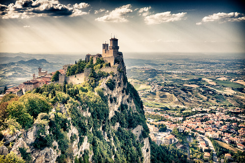 mountain tower castle rock wall scenery sanmarino view fort citadel hill hdr hdri smr forepost