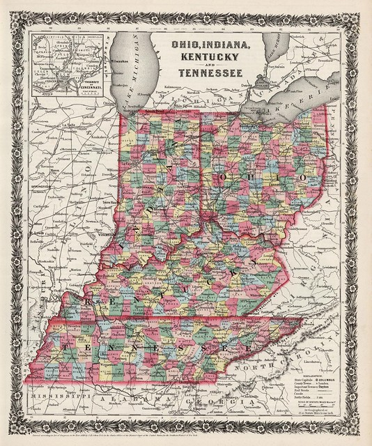 Indiana Kentucky Ohio And Tennessee State Maps 1858