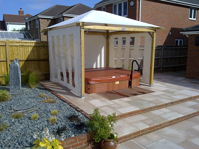 Garden design pics flickr photo sharing for Hot tub shelter plans