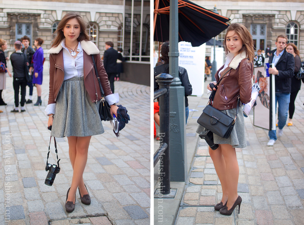 Street Style Chic City Girl Outfit Beautiful Shearling Collar Leather Jacket Boy Meets