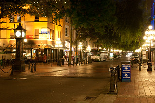 Streets of Gastown Lit by Beautiful Streetlights in the Evening