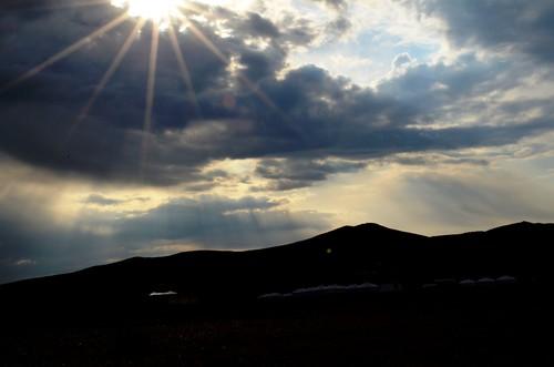sky sun clouds mongolia