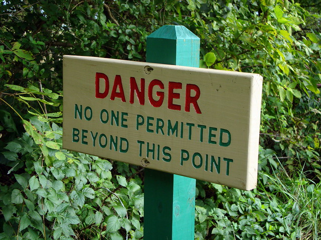 Danger No One Permitted Beyond This Point Sign.