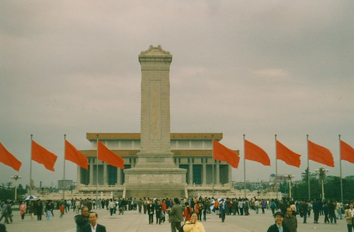 Beijing, Tiananmen Square, Monument to the People's Heroes and the Mao Zedong Mausoleum