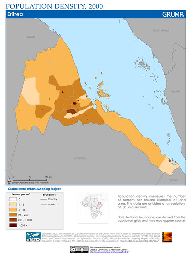 Eritrea: Population Density, 2000