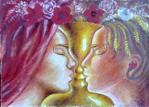 Pocalul fermecat al iubirii - Iluzie optica - Pictura