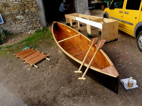 Two plywood canoes built in a week by tourists in France.  Then paddled and camped down the Loire River for two weeks