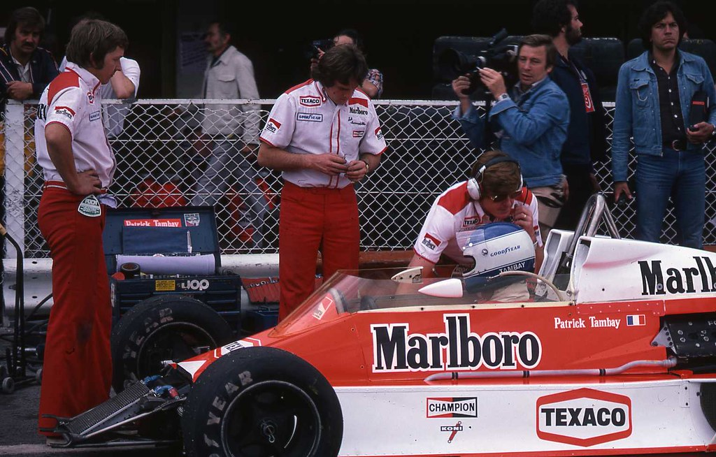 In pit lane with Patrick Tambay