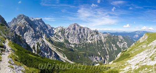 panorama mountains alps nature landscape outdoors europe view panoramic slovenia alpine limestone peaks rugged štajerska kamniškosedlo savinjska lowerstyria savinjaalps