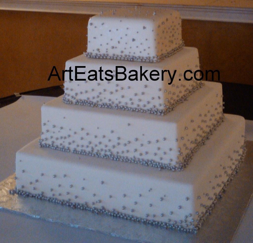 Four tier square white fondant unique custom wedding cake