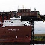 Ore freighter and the Lake Superior and Ishpeming Railroad at the Presque Isle Ore Dock, Marquette, MI