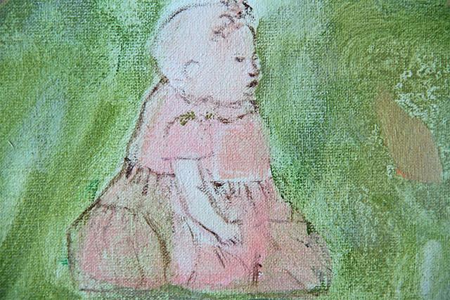 Verde prado de fresca sombra lleno, detail girl