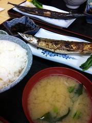 今日のランチはさんま塩焼定食。  ¥850 #lunch RT @tomoth: さつきにタッチ! http://t.co/dnAv8Rsj