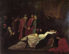 The Reconciliation of the Montagues and Capulets over the Dead Bodies of Romeo and Juliet, 1853-5, by Frederic Leighton