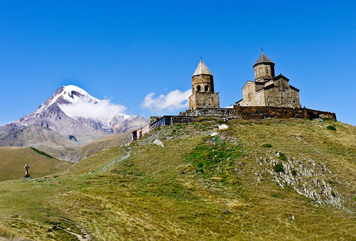 Zminda Sambea Church and Mt. Kasbek 5033 m. - Georgia