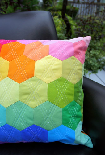 Rainbow Hexagon Pillow