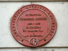 Photo of Overhead Railway, Liverpool, Charles Douglas Fox, and James Henry Greathead red plaque