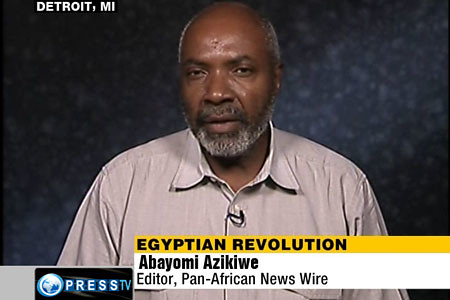 Abayomi Azikiwe, editor of the Pan-African News Wire, speaking on Press TV News Analysis program on the political situation in the North African state of Egypt. Azikiwe is a frequent guest on satellite television and internet radio. by Pan-African News Wire File Photos