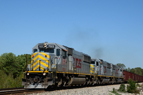 3 SD50's on a Rock Train
