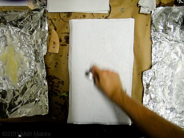 Step 8: Rubbing a photo onto a wax board