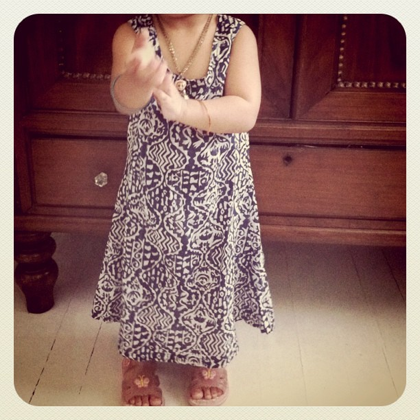 The 2yr old wears Anokhi tunic dress from India.