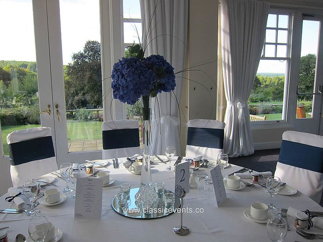 Tailored Chair Covers with Midnight Blue Taffeta Sashes
