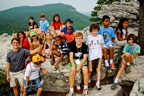 Students and Buddy Bison at Hanging Rock State Park, NC.