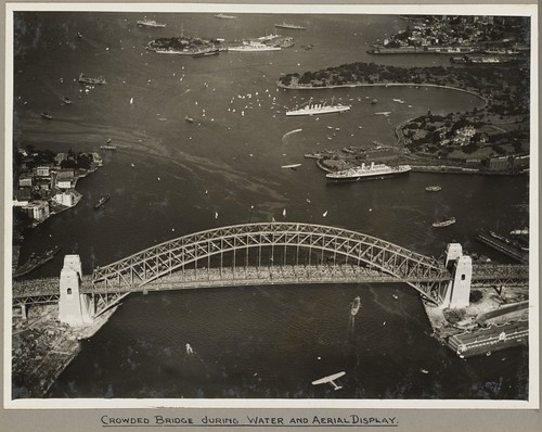 Sydney Harbour Bridge crowded with onlookers during the water and aerial display, 19 March 1932