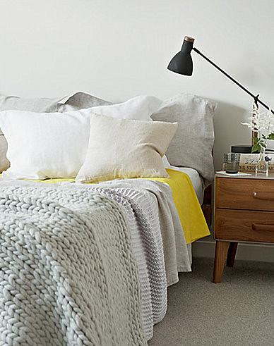 Jon day white gray yellow and black mid century vintage scandinavian modern bedroom flickr - Black white grey and yellow bedroom ...