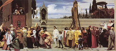 Cimabue's Celebrated Madonna is carried in Procession through the Streets of Florence, 1853-5, by Frederic Leighton