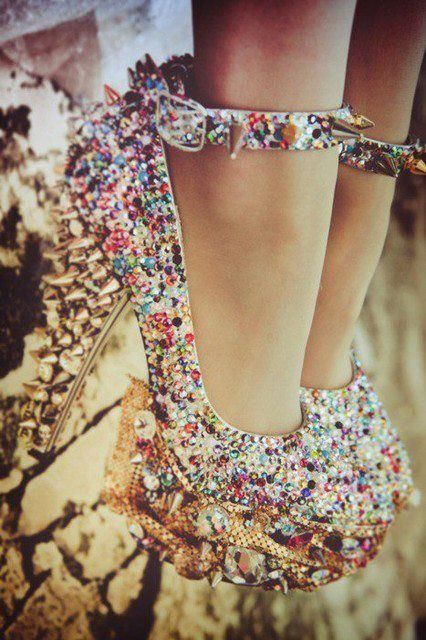 Multi Color Glitter Gold Studded Pumps