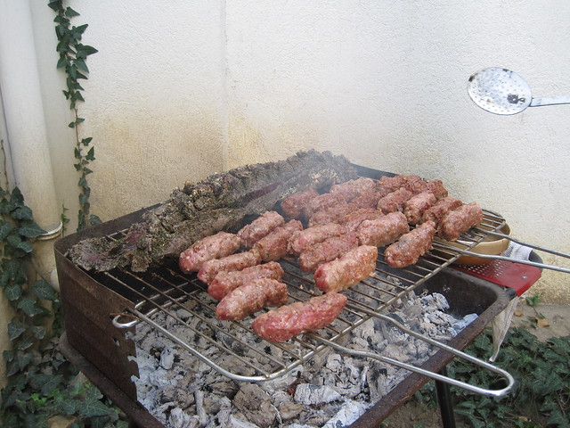 Mici on the grill